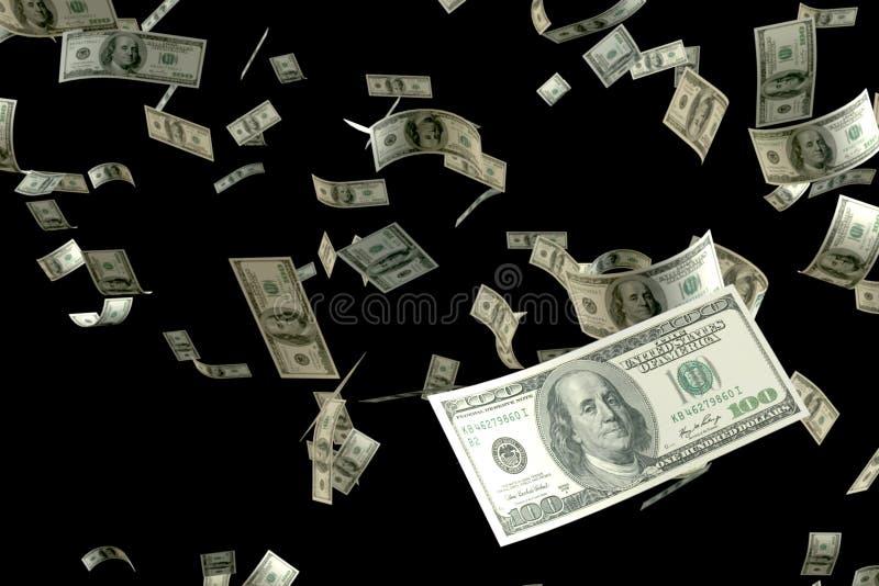 3D que rinde una gran cantidad de flotador del vuelo del billete de banco de USD del dinero 100 en el aire que se centra en el má stock de ilustración