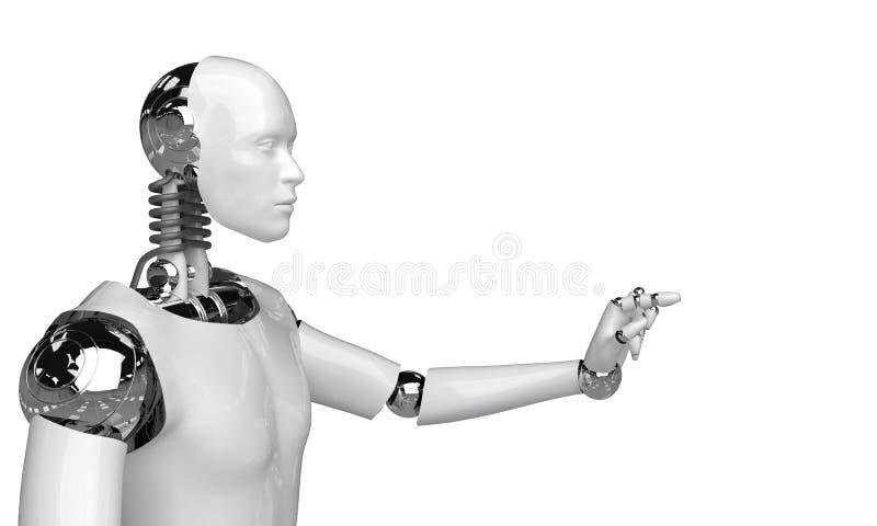 3d que rinden el robot humanoid que piensa y seleccionan algo objeto del punto del robot en el fondo blanco ilustración del vector