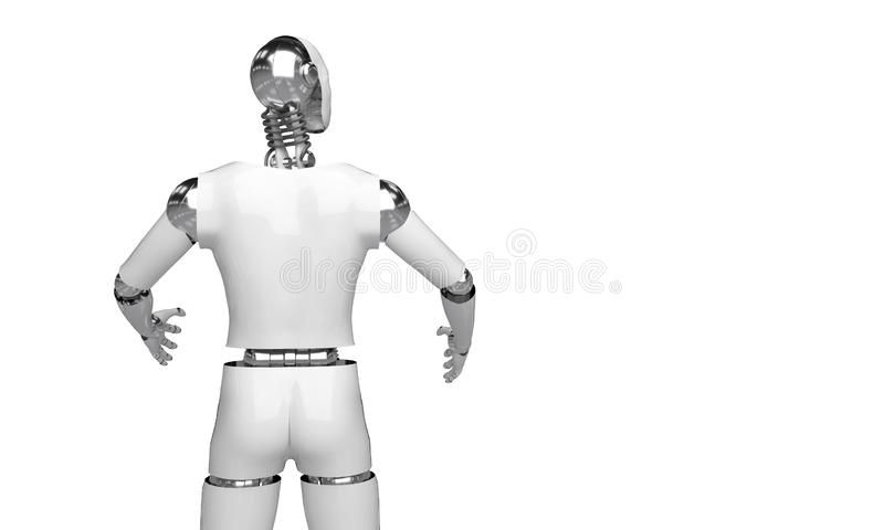3d que rinden el robot humanoid que piensa y seleccionan algo objeto del punto del robot en el fondo blanco libre illustration