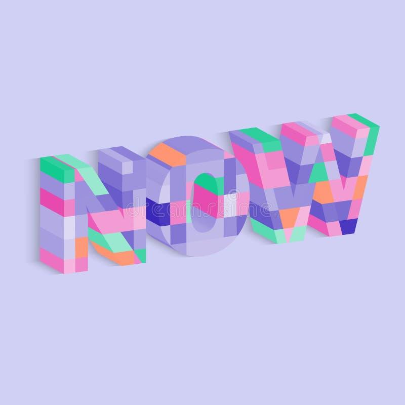 3d que rotula agora para o projeto decorativo Vector o alfabeto, caráter tipo, fonte, tipografia Projeto retro do alfabeto do vet ilustração stock