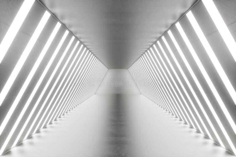 3D que torna a sala abstrata interior com luzes de néon Fundo futurista da arquitetura Modelo para seu projeto ilustração royalty free