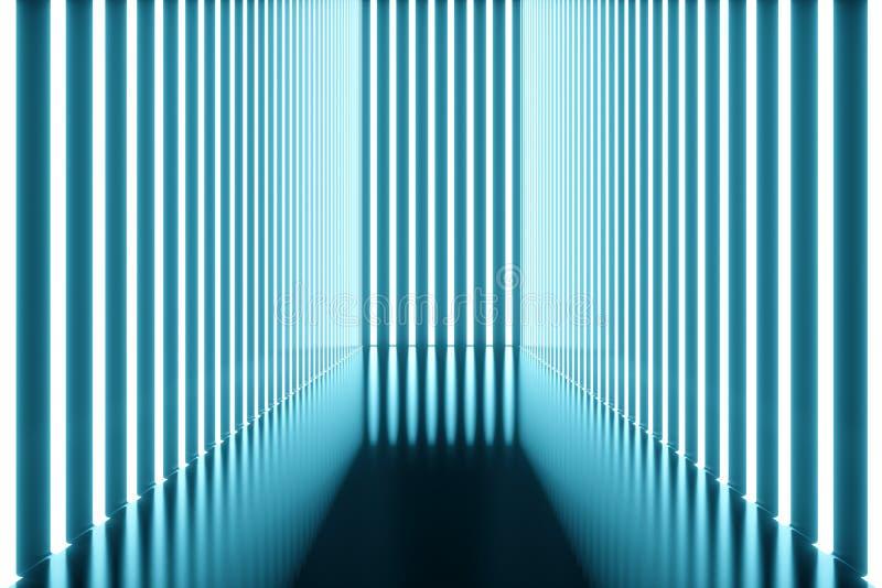 3D que torna a sala azul abstrata interior com as lâmpadas de néon azuis Fundo futurista da arquitetura Modelo para o seu ilustração stock