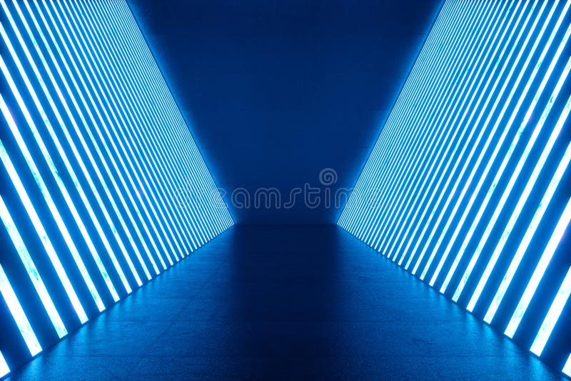 3D que torna a sala azul abstrata interior com as lâmpadas de néon azuis Fundo futurista da arquitetura Modelo para o seu ilustração royalty free