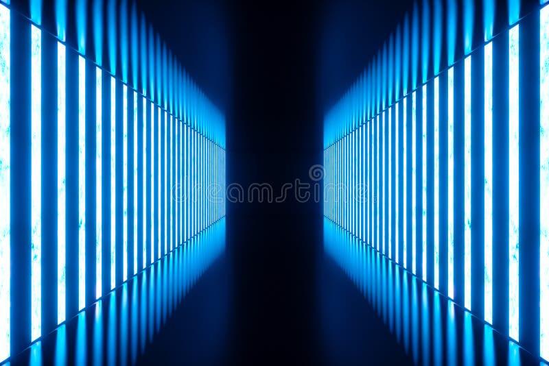 3D que torna a sala azul abstrata interior com as lâmpadas de néon azuis Fundo futurista da arquitetura Modelo para o seu imagem de stock
