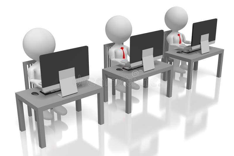 3D que trabaja en los ordenadores ilustración del vector