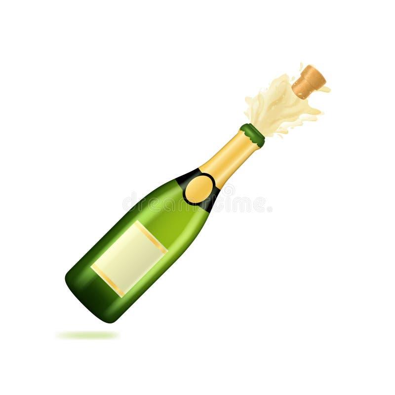 3d réaliste a affecté Champagne Green Bottle Explosion Vecteur illustration libre de droits