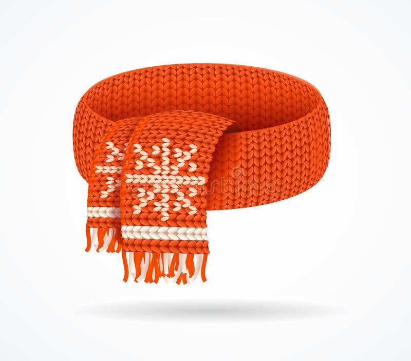 3d réaliste a détaillé l'écharpe tricotée par hiver Vecteur illustration libre de droits