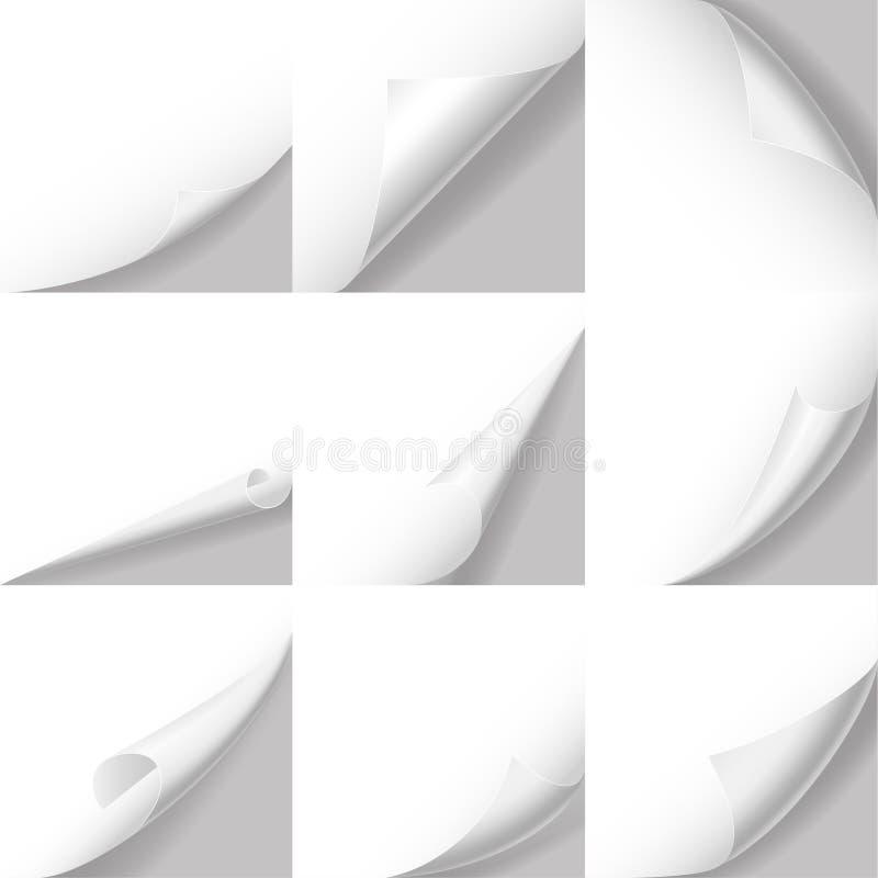 3d réaliste a détaillé l'ensemble courbé blanc de coins Vecteur illustration de vecteur