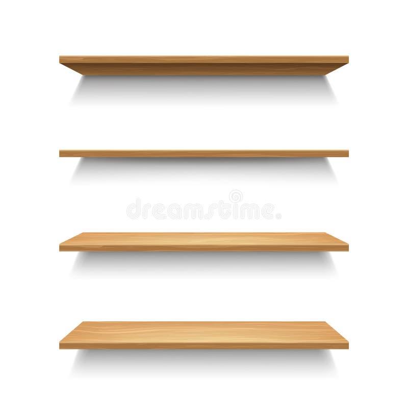 3d réaliste a détaillé l'ensemble en bois d'étagères Vecteur illustration de vecteur