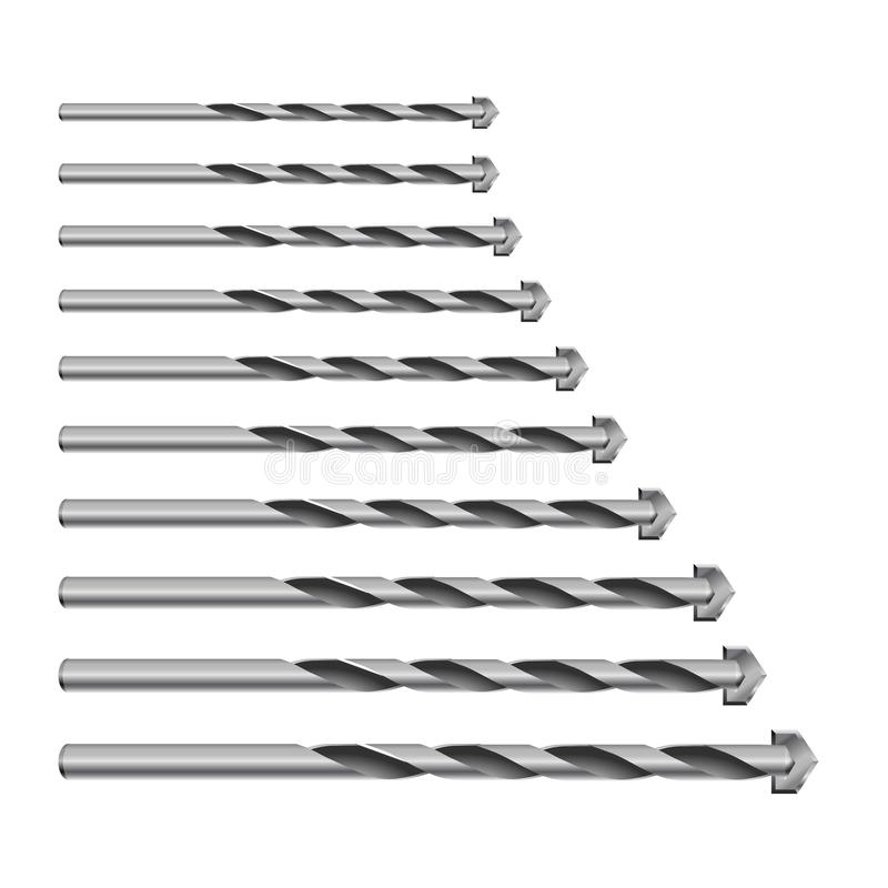 3d réaliste a détaillé la perceuse métallique pour le béton pour le peu de perforateur a placé des outils pour des travaux de con illustration de vecteur