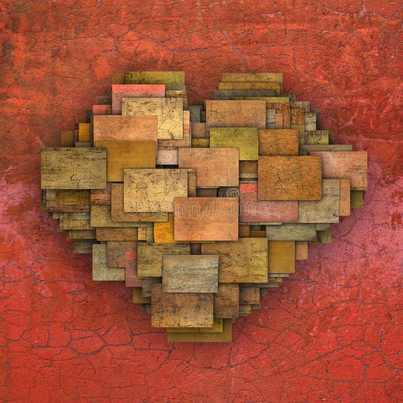 3d a réduit le modèle en fragments de grunge de tuile de place de forme de coeur d'amour illustration de vecteur