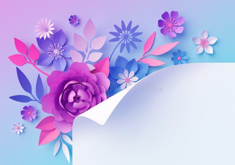 3d różowi błękitni neonowi papierowi kwiaty, pastelowego koloru botaniczna tapeta, pusty sztandar, strona kędzior, odizolowywając ilustracja wektor