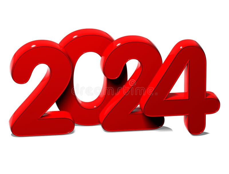3D rött nytt år 2024 på vit bakgrund vektor illustrationer