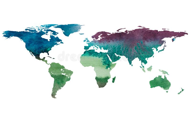 2d ręka rysująca ilustracja światowa mapa ilustracji