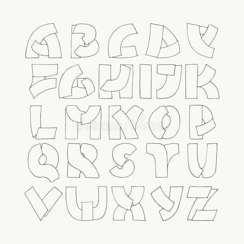 2d ręka rysujący abecadło listy od A Z w prostym konturze projektują Dekoracyjni kaligrafii chrzcielnica, dobra dla pisać wycena  royalty ilustracja