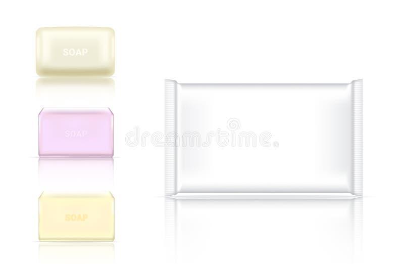 3D raillent l'emballage de papier de empaquetage cosm?tique d'enveloppe ou en plastique de barre r?aliste de savon pour annoncer  illustration stock