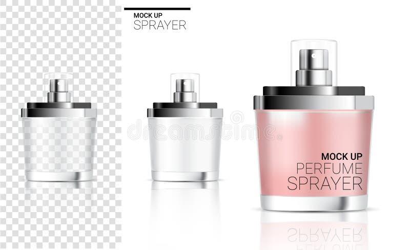 3D raillent la mousse réaliste de cosmétique ou de savon de parfum de bouteille de jet pour l'emballage de produit de soins de la illustration de vecteur
