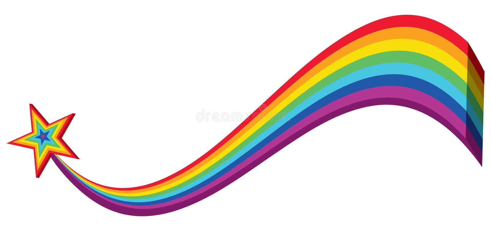 3d rainbow line star wave banner. This illustration is design and drawing 3d rainbow line star with wave style in banner size on white color background stock illustration