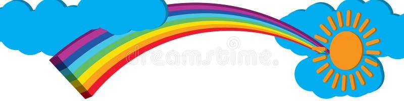 3d rainbow sun cloud banner vector illustration