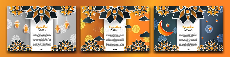 3d ramadhan flower banner set stock photos