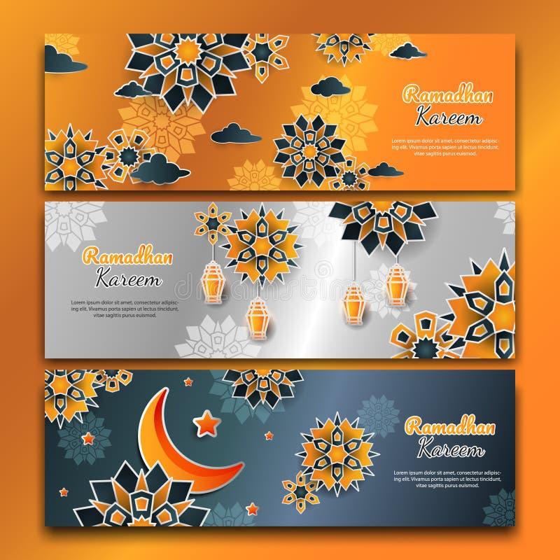 3d ramadhan horizontal flower banners set royalty free stock photography