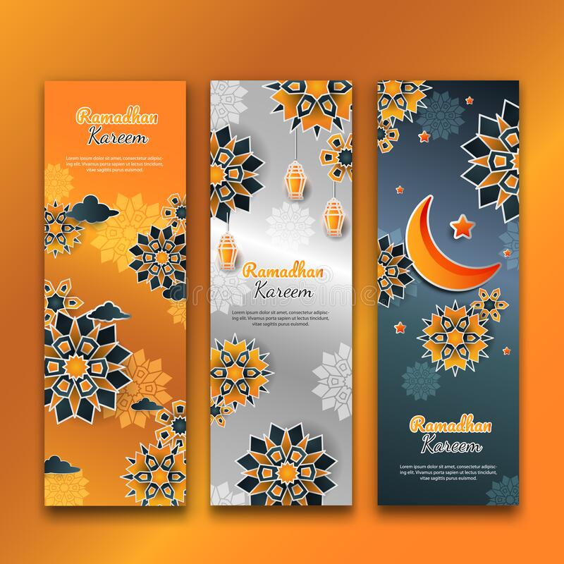 3d ramadhan vertical flower banners set stock images