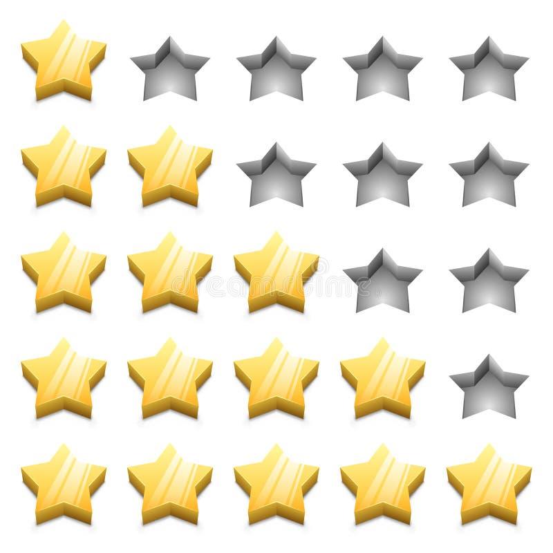 3D rankingu żółte gwiazdy royalty ilustracja