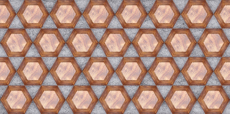 3D rappresentazione dei pannelli di parete di legno di esagono, quercia di legno materiale su calcestruzzo grigio per le vostre m illustrazione di stock