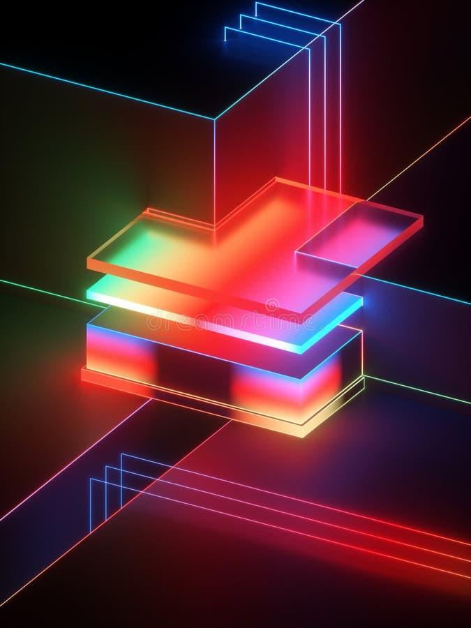 3d rappresentazione, fondo geometrico astratto moderno, derisione minimalistic su, brillante luce al neon, vetrina vuota, retro illustrazione vettoriale
