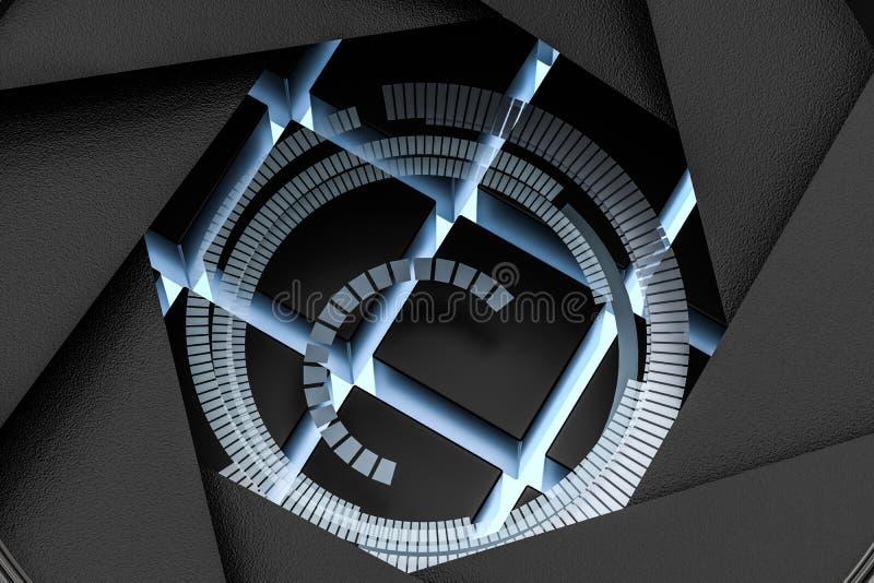 3d rappresentazione, obiettivo in un fondo scuro dello studio illustrazione vettoriale