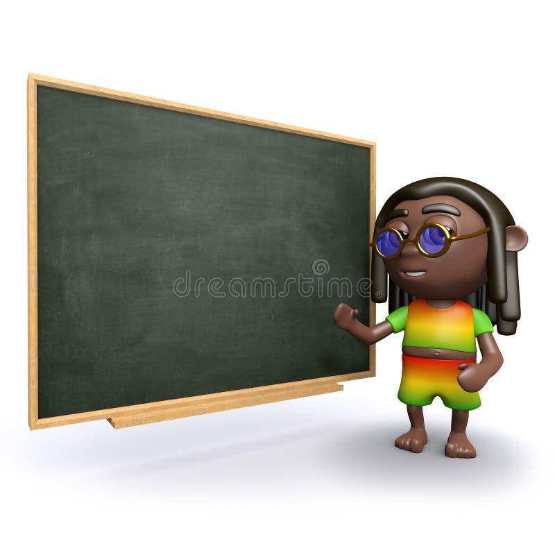 3d Rasta unterrichtet an der Tafel stock abbildung