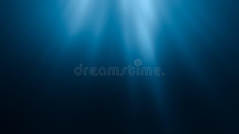 3D re5r 太阳光芒的ndered例证在水下的 皇族释放例证