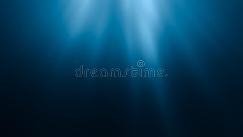 3D re5r.ndered illustration of sun rays under water. royalty free illustration
