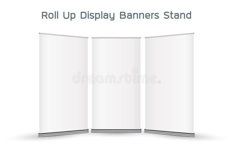 3d reais rolam acima o suporte das bandeiras da exposição ilustração royalty free