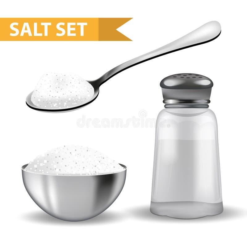 3d realístico ajustou-se com abanador de sal, colher do sal, bacia de aço Isolado no fundo branco Frasco de vidro para especiaria ilustração royalty free
