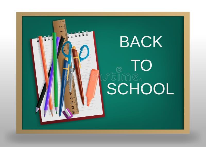 3D realístico de volta ao projeto do cartaz do título da escola em um quadro-negro com artigos da escola Ilustração Editable do v ilustração royalty free