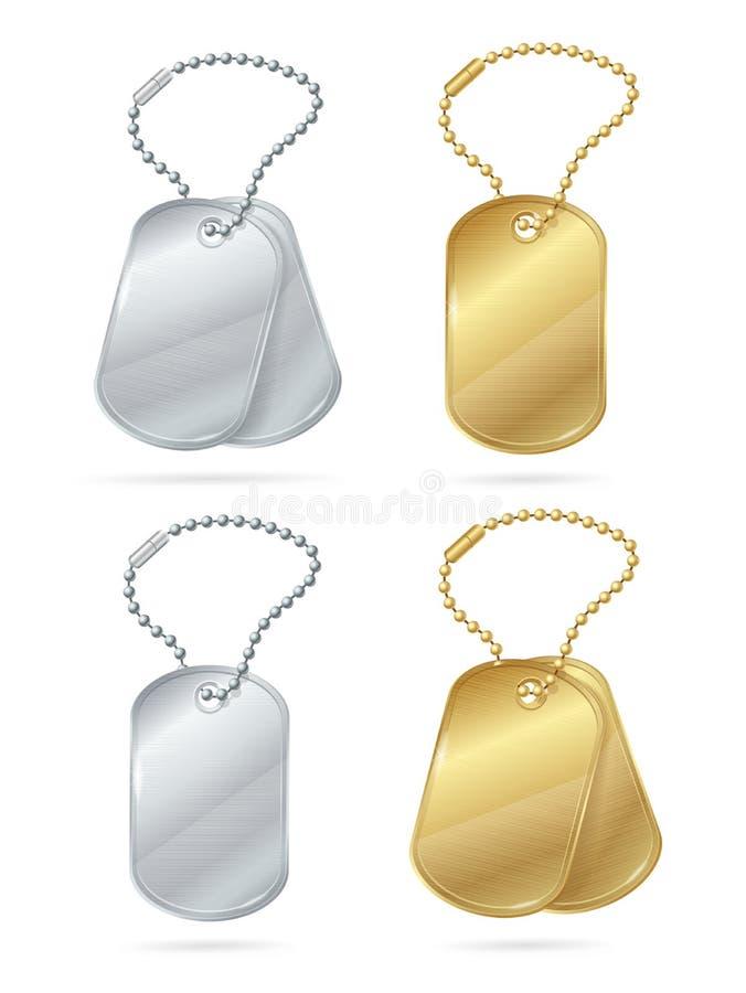 3d realístico detalhou as etiquetas ou os medalhões brilhantes ajustadas Vetor ilustração do vetor