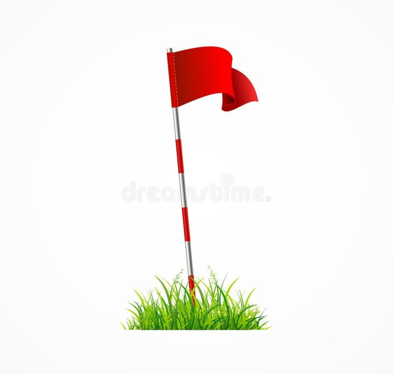 3d realístico detalhou a bandeira vermelha do golfe Vetor ilustração do vetor