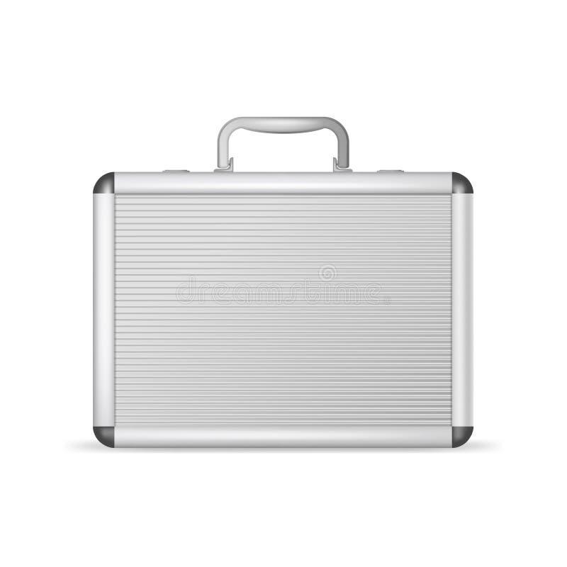 3d realístico detalhou a mala de viagem de alumínio da placa Vetor ilustração royalty free