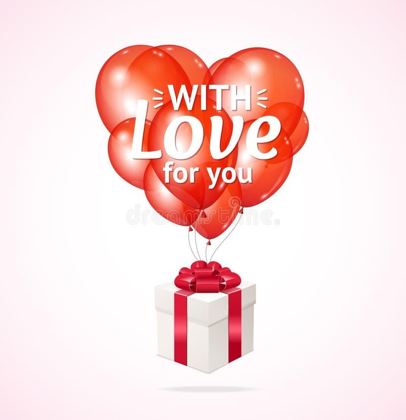 3d realístico detalhou o balão vermelho e a caixa atual Valentine Day Vetor ilustração royalty free