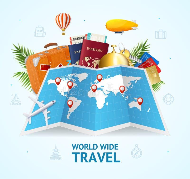 3d realístico detalhou o cartão mundial do conceito do curso Vetor ilustração royalty free