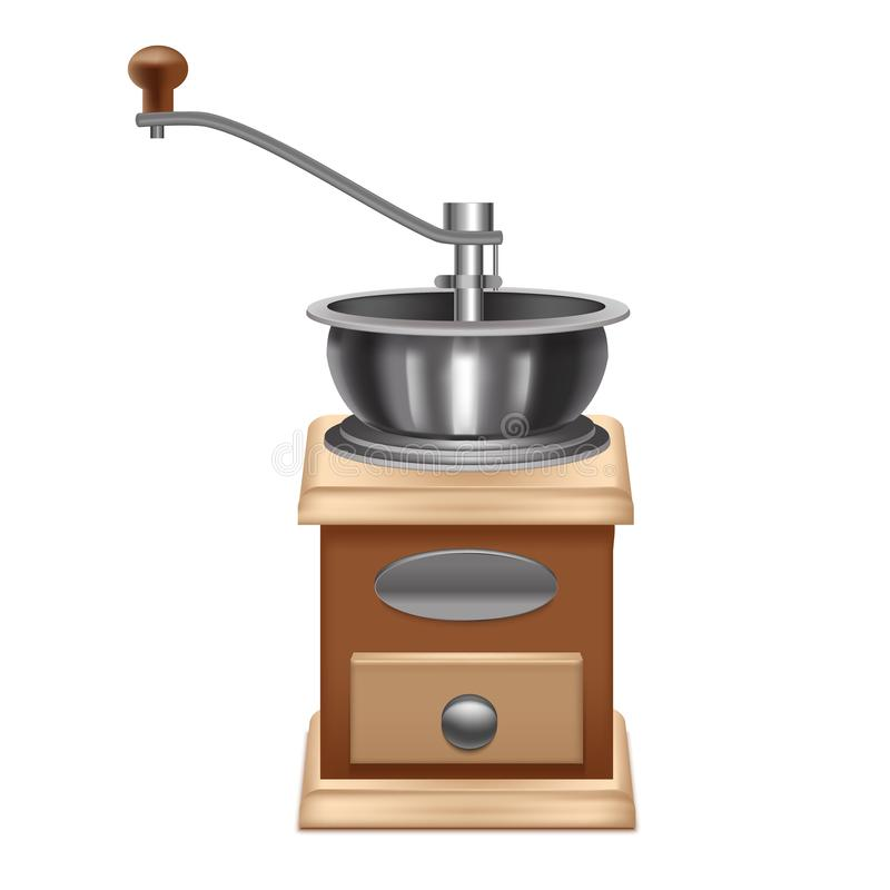3d realístico detalhou o moedor de café manual Vetor ilustração stock