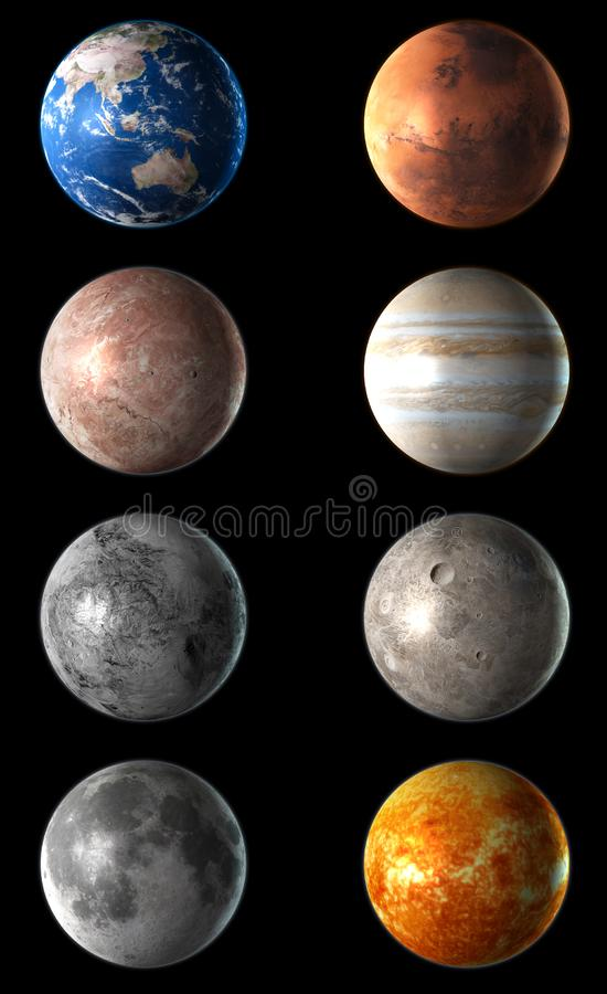 3D realístico detalhou o planeta ajustado no fundo preto ilustração 3D ilustração royalty free