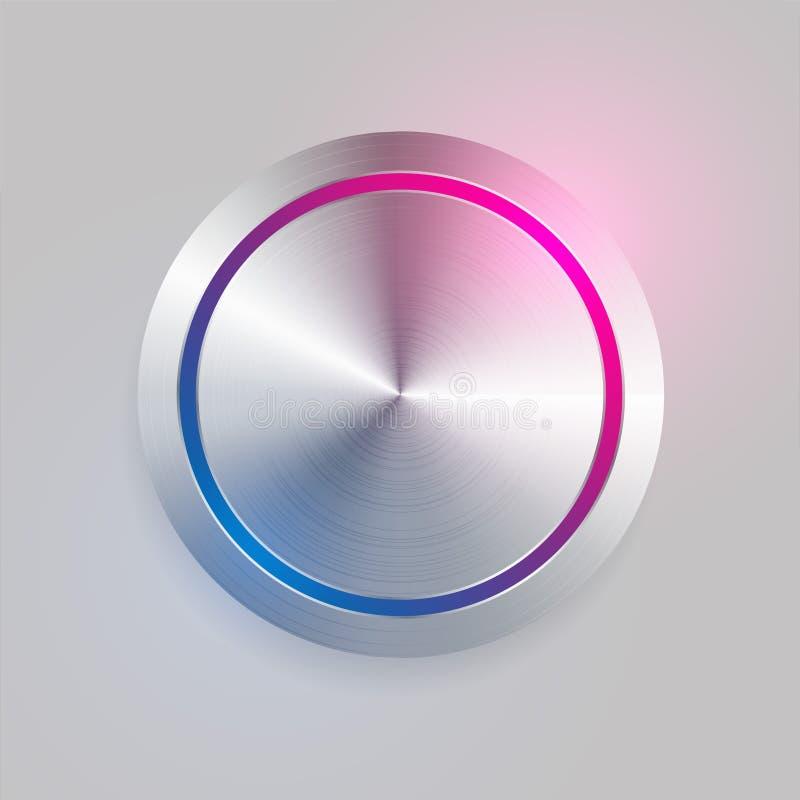 3d realístico escovou o botão circular do metal ilustração do vetor