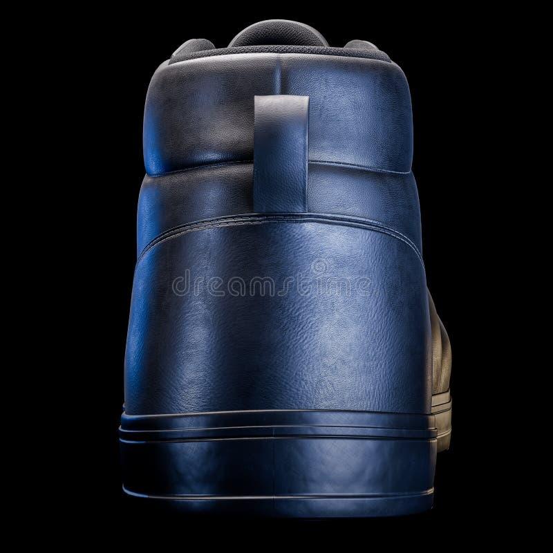 3D realísticos rendem de uma sapata na cor escura, com um fundo preto imagem de stock