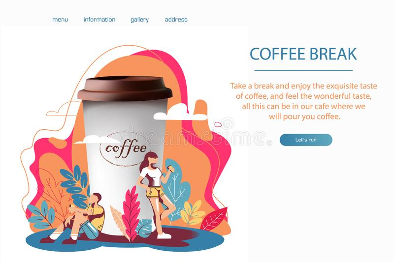 3D realism and flat design, a great Cup of coffee and people drink coffee. Or a drink, a girl with a mug, the man with wineglass, vector website design royalty free illustration
