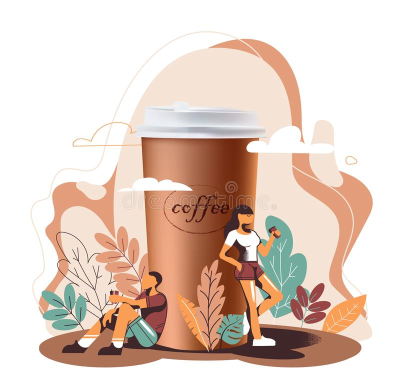 3D realism and flat design, a great Cup of coffee and people drink coffee. Or a drink, a girl with a mug, the man with wineglass, vector stock illustration