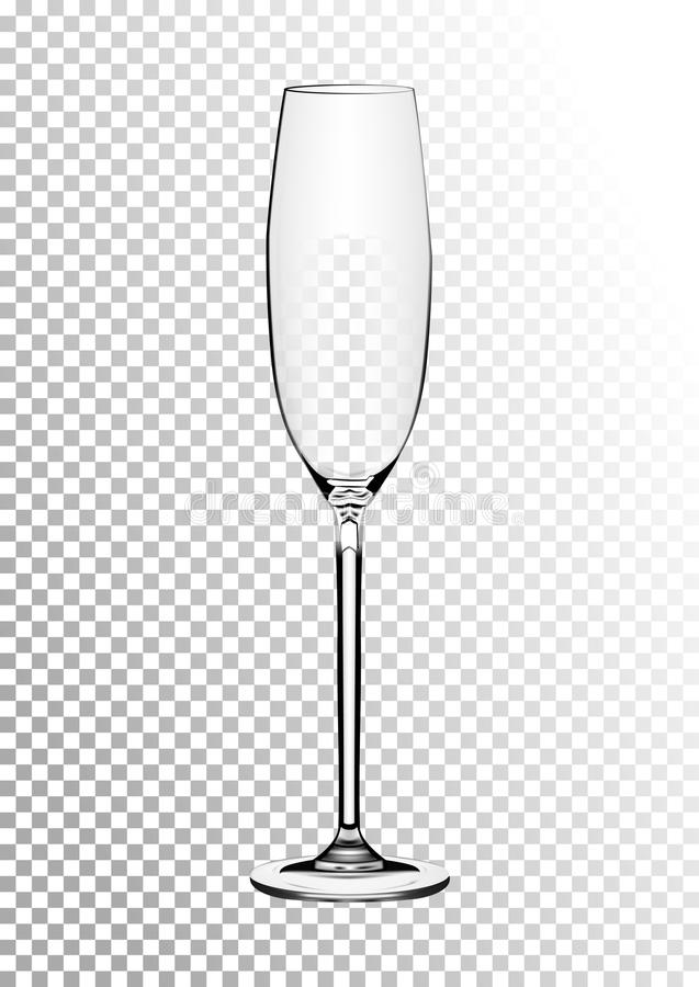 Vector illustration of a wine glass for champagne or sparkling wine in photorealistic style. A realistic object on a stock illustration