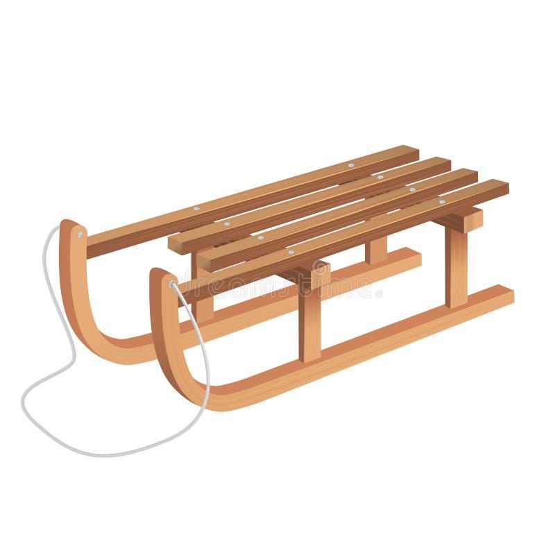 3d realista detalló el trineo de madera clásico Vector stock de ilustración