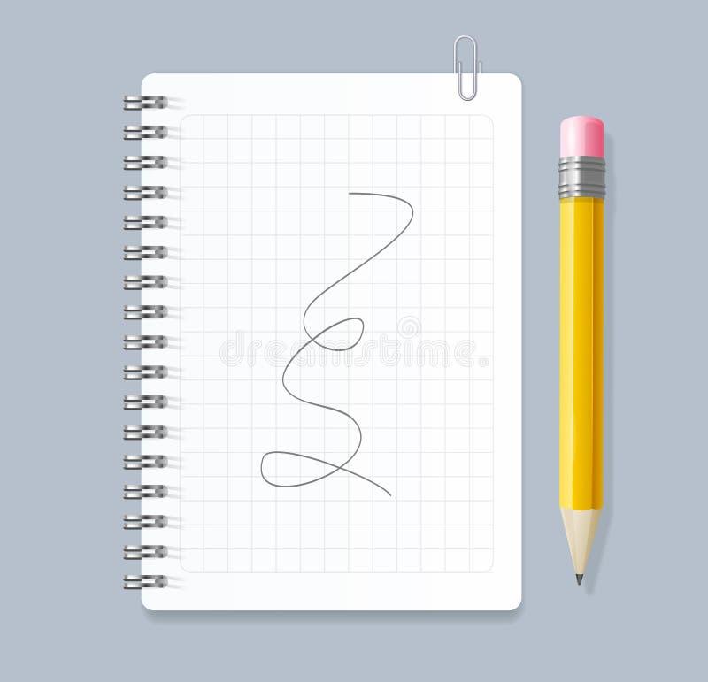 3d realista detalló espiral alineado cuaderno y el lápiz Vector stock de ilustración